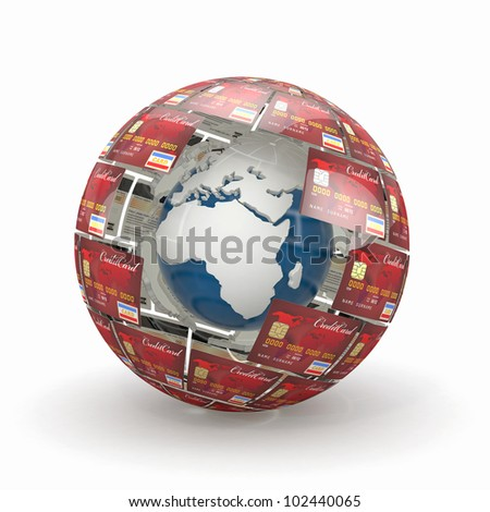 Earth in sphere from credit cards. 3d - stock photo