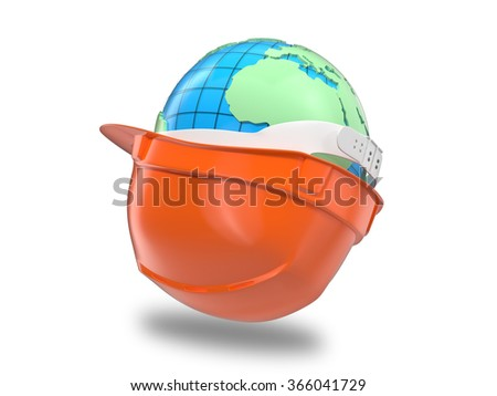 Earth in the construction helmet - stock photo