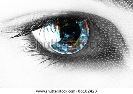 Earth in the eye - stock photo