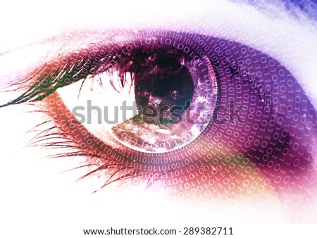 Earth in the eye business concept - stock photo