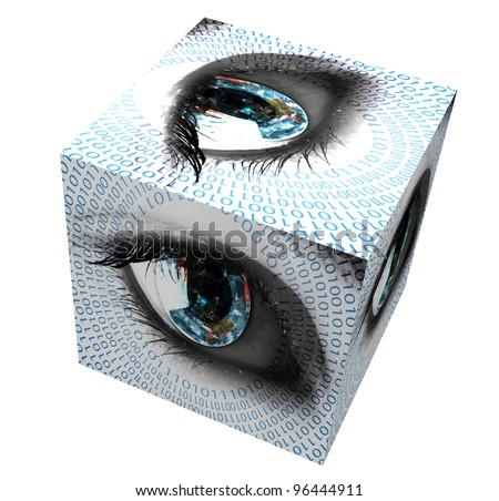 Earth in the eye with numbers - stock photo