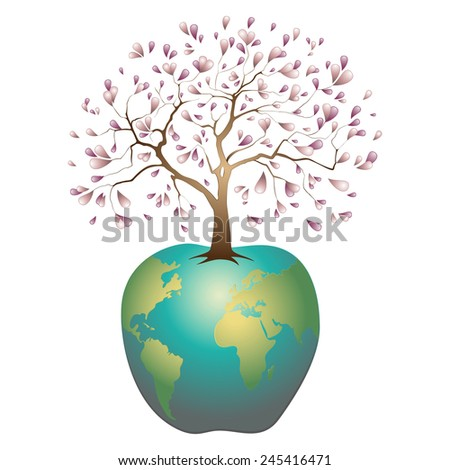 Earth in the form of an apple with the axis in the form of a blossoming apple tree, an allusion to the biblical story of paradise, illustration
