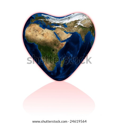 Earth in the form of heart on white. Data source: nasa. - stock photo
