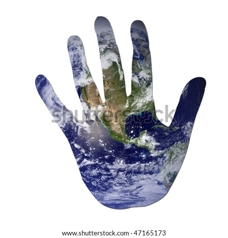 Earth in the shape of a hand isolated on white to symbolize ecological issues. Earth photo from Nasa. - stock photo