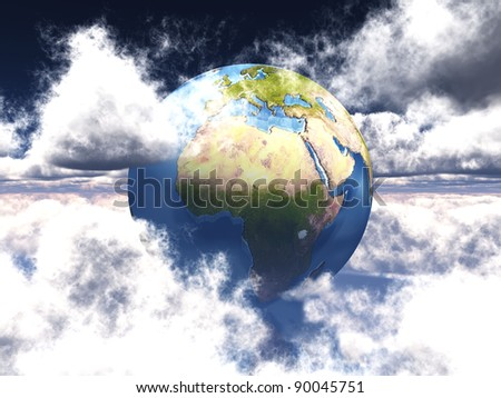 earth in the white clouds