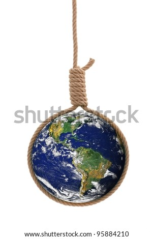 Earth in thick gallows rope. Danger or distress concept. Elements of this image furnished by NASA - stock photo