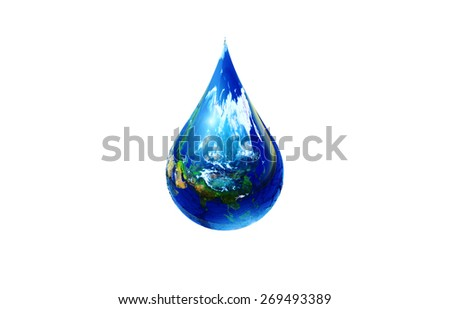Earth in Water Drop on White Background  .Earth day concept.Elements of this image furnished by NASA.clipping path - stock photo