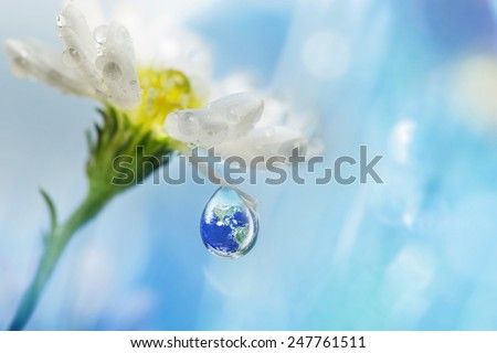 Earth in water drop reflection under flower, Shallow depth of field, Elements of this image furnished by NASA - stock photo