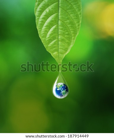 Earth in water drop reflection under green leaf, Elements of this image furnished by NASA - stock photo