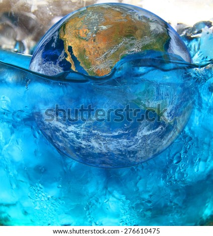 earth in water , ocean, sea level ,climate change and global warming problem background,  ,including elements furnished by NASA - stock photo