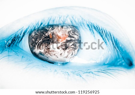 earth insect eye, world concept (The earth image is furnished by NASA) - stock photo
