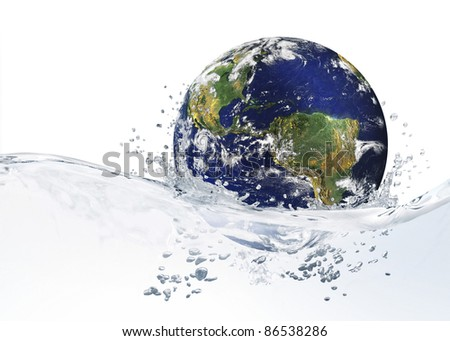 Earth is in a blue spray of clean water - stock photo