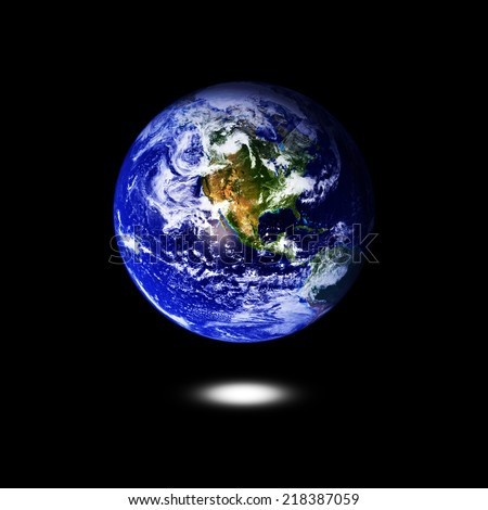 Earth isolated on a black background.Elements of this image are furnished by NASA - stock photo