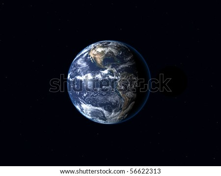 earth isolated on black background - stock photo