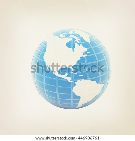 Earth Isolated on white background. 3D illustration. Vintage style.