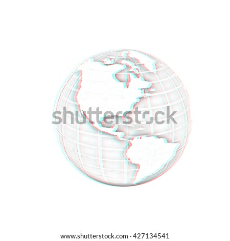 Earth Isolated on white background. Pencil drawing. 3D illustration. Anaglyph. View with red/cyan glasses to see in 3D. - stock photo