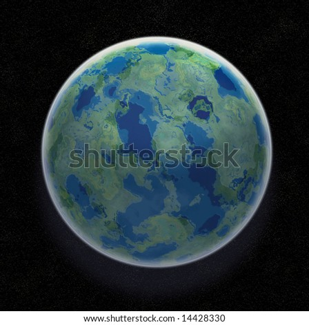Earth Like Planet In Space With Stars - Illustration