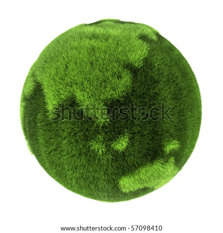 Earth made of green grass - Asia and Australia - 3D abstract rendering