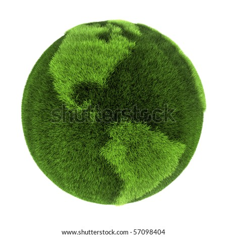 Earth made of green grass - North and South America - 3D abstract rendering