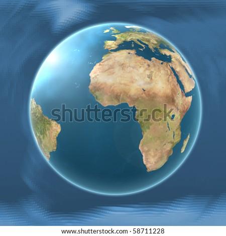 Earth Map Africa on blended mesh background illustration - stock photo