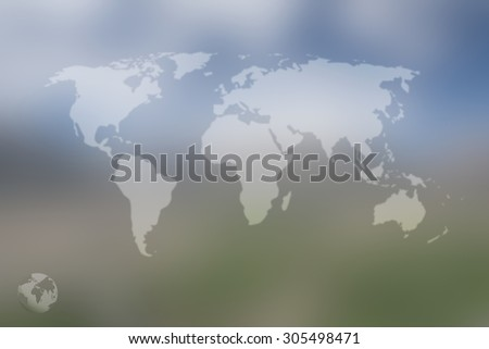 Earth map and global on blurred screen background