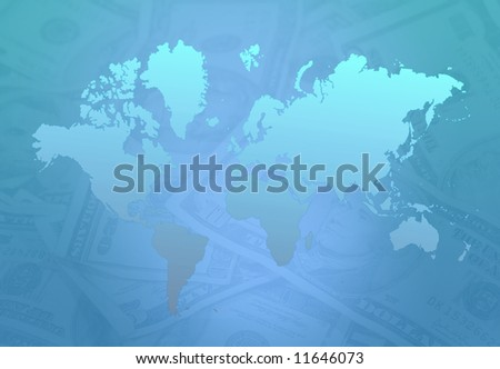 Earth Map Money - stock photo