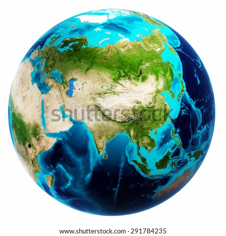 Earth map white isolated. Elements of this image furnished by NASA - stock photo
