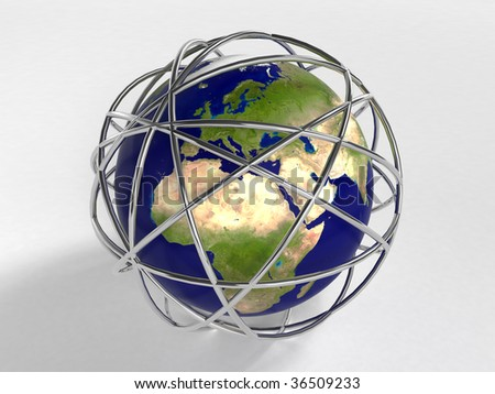 Earth - Metal scribble ball - stock photo