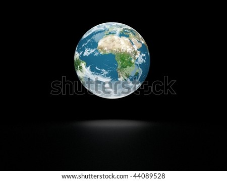 Earth model on black background with shadow