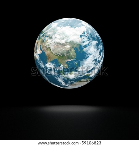 Earth model on black background with shadow. Polus view. - stock photo
