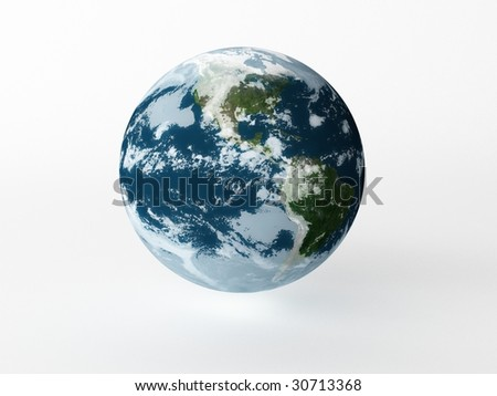 Earth model on white background with shadow