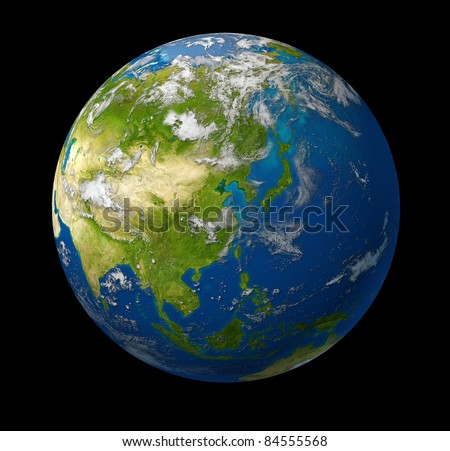 Earth model planet featuring the continent of Asia including China Japan Korea and India surrounded by blue ocean and clouds on black - stock photo