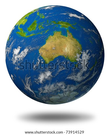 Earth model planet featuring The continent of Australia surrounded by blue ocean and clouds isolated on white. - stock photo
