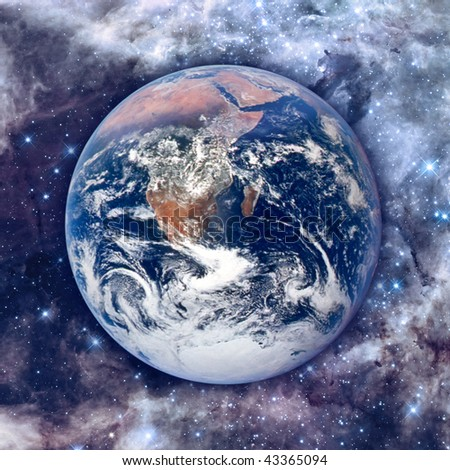Earth Model with beautiful cosmos background - stock photo
