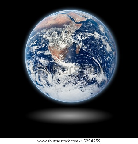 Earth Model with black background and shadow - stock photo