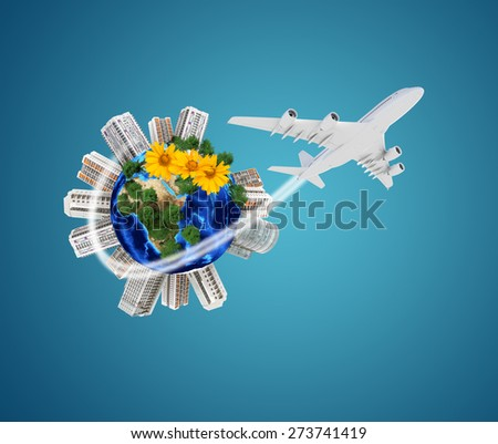 Earth model with city and around, flowers on isolated blue background. Elements of this image furnished by NASA - stock photo