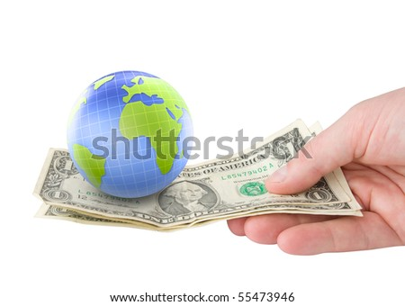 earth money concept. holding money in hand with earth planet globe - stock photo