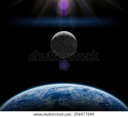Earth, Moon and space sunrise on a dark starless background. Elements of this image furnished by NASA.  - stock photo