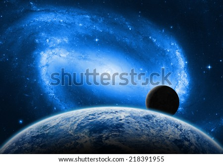 Earth, Moon and space sunrise on a dark starry background. Elements of this image furnished by NASA.  - stock photo