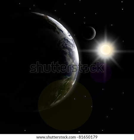 Earth, moon and sunlight - stock photo
