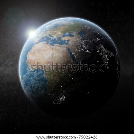 Earth Night Map (cities lights during sunrise on earth) - stock photo