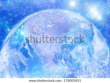 Earth (North and Central America) surrounded by stars. Earth disk furnished by NASA/JPL. - stock photo