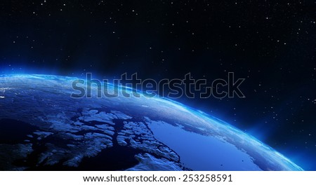 Earth north city lights. Elements of this image furnished by NASA - stock photo