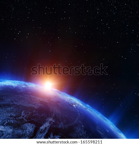 Earth north from space. Elements of this image furnished by NASA - stock photo