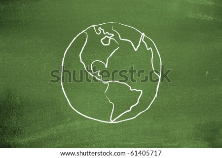 Earth on blackboard - stock photo