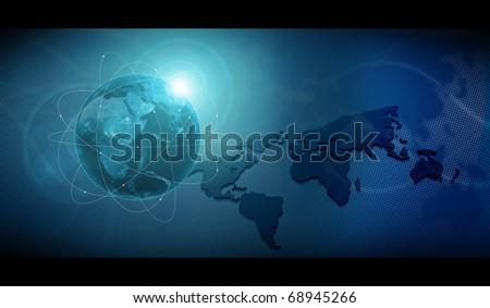 earth on blue technologic background - stock photo