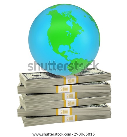 Earth on bundle of money on isolated white background. Elements of this image furnished by NASA - stock photo
