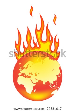 Earth On Fire. Isolated on a white background. - stock photo