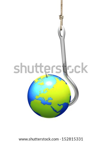 Earth on fishing hook - stock photo