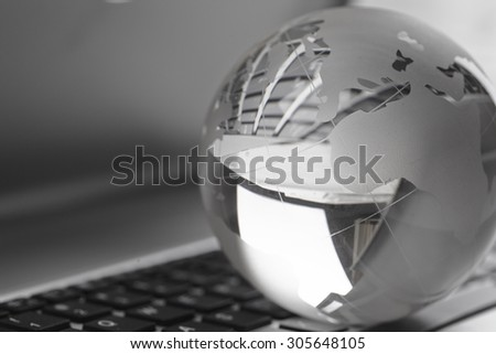 earth on keyboard - stock photo